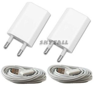 2X USB EU AC Power Adapter Wall Charger Plug + SYNC Cable iPod iPhone