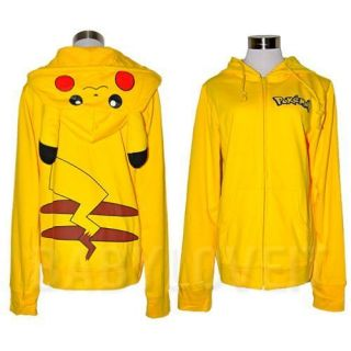 Pikachu Ears Face Tail Zip Hoodie Hoody Sweatshirt Costume C1004