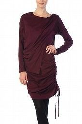 NWT  BOUTIQUE RYU LONG SLEEVED LAYERED BURGUNDY KNIT DRESS W