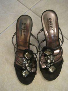 kathy van zeeland jewel black strappy shoes size 7m euc