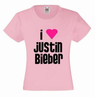 LOVE JUSTIN BIEBER Girls T Shirt 3 13yrs Pink Printed Heart Kids