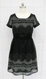 BL1476 BLACK WITH WHITE PAISLEY PRINT DRESS SIZE S