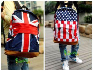 New Union Jack UK US Flag Design Personality Canvas Backpack School