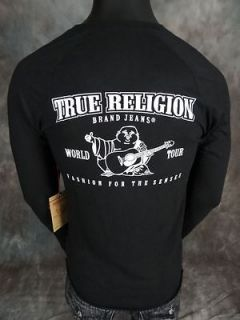 NWT! Mens TRUE RELIGION Jersey Henley Shirt in BLACK with HORSESHOE