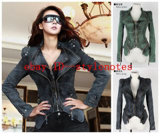 Studded Shoulder Notched Lapel Denim Jeans Tuxedo Coat Blazer Jacket