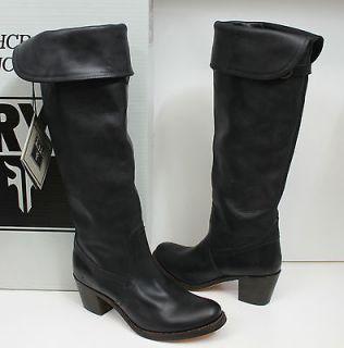 Frye Jane Tall Cuff 77596 black leather womens boots NIB