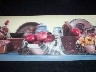 Fun WALLPAPER BORDER LOT Apples Flowers Preserves Kitchen Decor 29