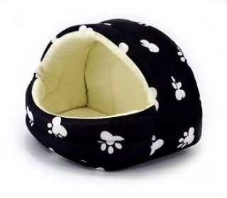 IGLOO PET TENT New Plush White Paw Prints on Black/Tan small Dogs or