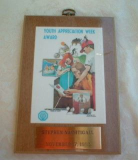 VINTAGE OPTIMIST INTERNATIONAL FRIEND of YOUTH APPRECIATION WEEK AWARD