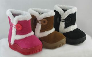 Baby Infant Girl Cute Ankle Faux Suede Boot Shoe Black Fuchsia Brown