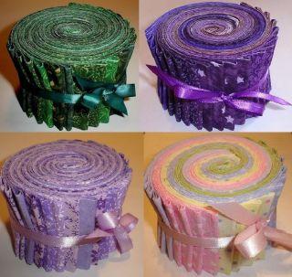Green, Purple, Lavender, Pastel Fabric Jelly Rolls