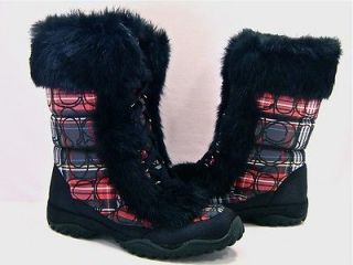 New NIB Coach Jennie Signature Black & Red Plaid Fur Boots 8 RARE