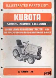 KUBOTA DIESEL LAWN AND GARDEN TRACTOR G4200H & G5200H ILLUSTRATED