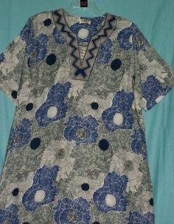 Kaftan Jalabiya 2X Blue Linen 1125 Kurti Tunic Dupatta Salwar Saree