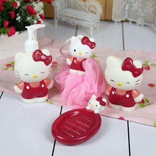 4pcs set hello kitty bathroom bath lotion bottle shower from china