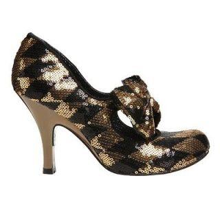 IRREGULAR CHOICE Womens Windsor Gold Black Shoes Various Sizes