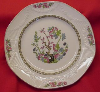 MEAKIN ENGLAND EMB FLOWER SWAG INDIAN TREE PATTERN CHINA PLATE
