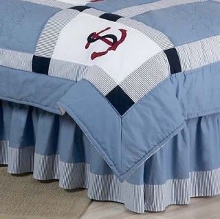 SWEET JOJO DESIGNS BLUE NAUTICAL BOY KID QUEEN BEDDING SET BED SKIRT