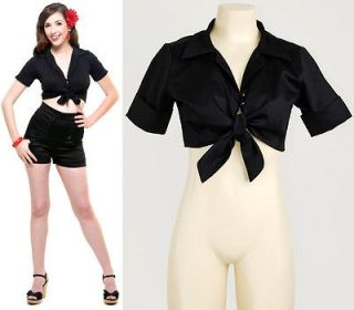 Black Satin Punk Goth Rockabilly Pinup Tie Front Crop Shirt Top Blouse