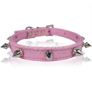 11 14 Pink Leather Spiked Dog Collar Small S Spikes Fashion Collar