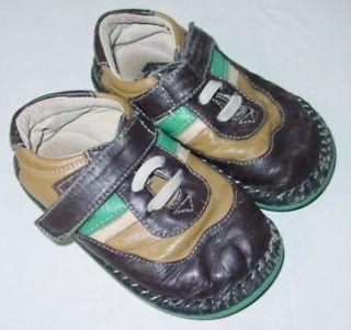 boys see kai run leather brown green shoes velcro 7
