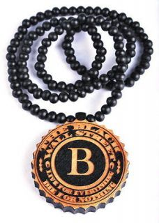 """Letter """"B"""" WALL STREET Wood Pendant Beaded Necklace Mens Rosary"""