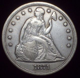 1871 SEATED LIBERTY SILVER DOLLAR strong XF Details Authentic American
