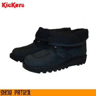 Kickers Black Kick Hi Fold Mens Black Nubuck Leather Boots/Shoes