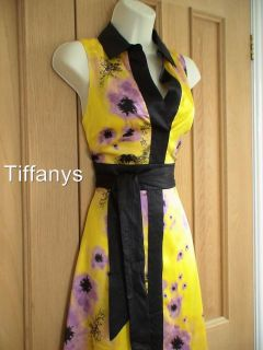 KAREN MILLEN YELLOW SILK FLORAL PRINT DRESS BNWT UK 12, 14