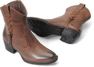 Womens Born Ankle Western Boot Karin Brown Canoe II Leather B58906