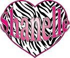 Hot Pink Zebra Heart Custom Name Removable Wall Sticker Vinyl Decal
