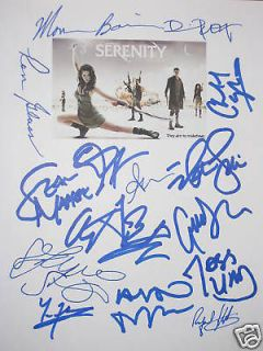 Serenity Signed Script X15 Nathan Fillion Firefly Summer Glau Torres