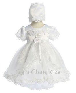 New Baby Girls White Christening Baptism Dress 3 6 M Dedication Gown w