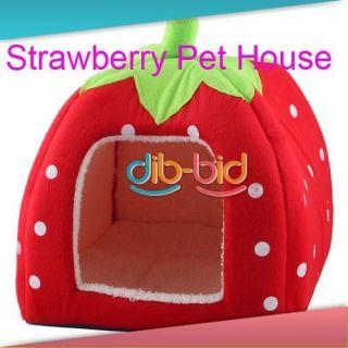 Lovely Soft Super Cool Sponge Strawberry Pet Cat Dog House Bed Size