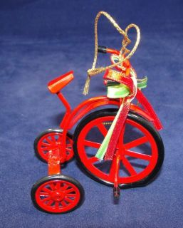 Vtg 2.75 Red Enamel Metal High Wheel Bicycle Trike Xmas Ornament