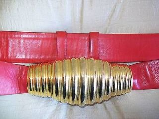 JUDITH LEIBER Stunning Gold Cornicopia Shell Buckle Red Leather