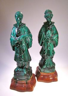 PAIR of CHINESE STATUES QUAN YIN & CHINESE WARRIOR  Mid Century ASIAN