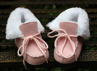 Baby Girl Pink Faux Fur Lined Boots Crib Lace Up Shoes Size Newborn to