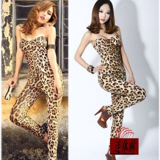 Top quality Lady Gaga Leopard Sexy Club Slim Tube Jumpsuit Leggings