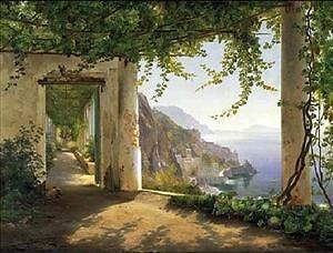 amalfi lake como oil painting 40x28 canvas pto location united kingdom
