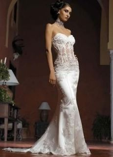 New Custom Sexy vintage White/Ivory Lace Mermaid Wedding Dress Bridal