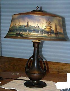 Original Pairpoint New Bedford Harbor Scene Reverse Painted Lamp