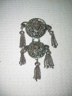 vintage sterling silver floral hobe brooch  179