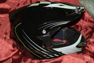 PGR MX Motocross Dirt Bike Quad Cross Snow Mobile Helmet Black Youth L