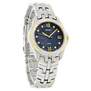 seiko le grand sport mens blue dial 2 tone watch