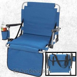 Blue Stadium Seat with Arm Rest Drink Holder Pockets Bleacher Chair