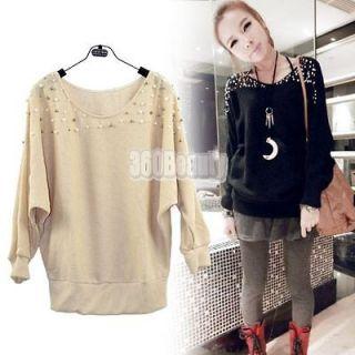 2colors Coat Sweater New Korea Womens Long Sleeve Pearl Knit Cardigan