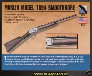 marlin model 1894 smootbore rifle classic firearms card from canada