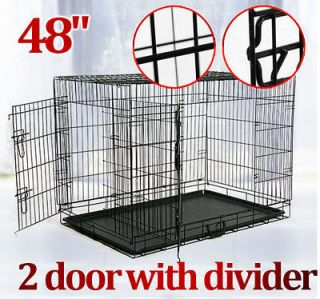 NEW 482 Doors Large Folding Dog Pet Crate Cage Kennel with Divider