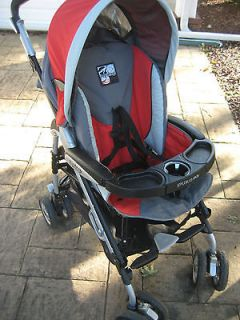 Full Size Peg Perego Red pliko3 Stroller w/ 2nd child foot stand**NICE